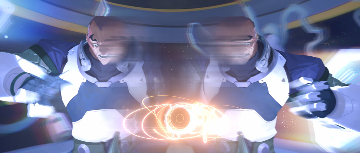 Overwatch - Sigma performs the black hole experiment that tore his mind and body apart. The image is distorted to represent the damage inflicted on Sigma.