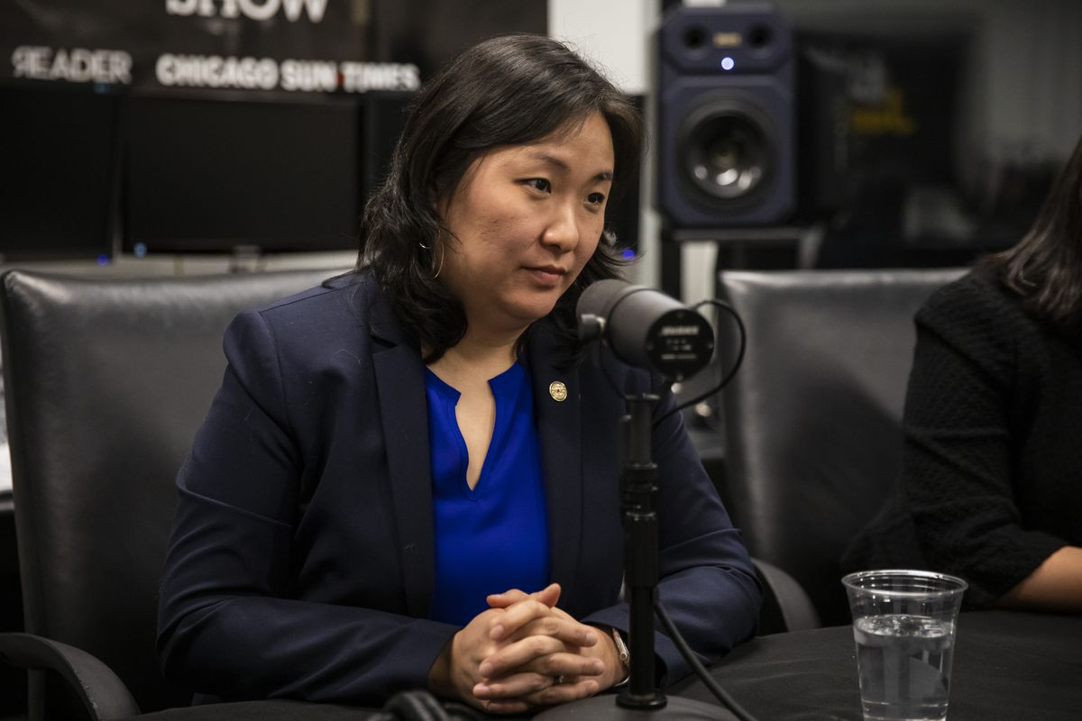 The city's Budget Director Susie Park sits down for an interview with reporter Fran Spielman at the Chicago Sun-Times, Friday morning, Dec. 13, 2019.