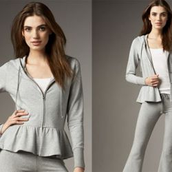 Heather gray peplum hoodie by Aiko, available at Neiman Marcus and Madison