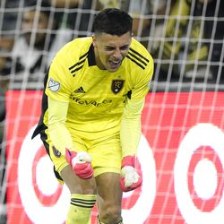 Real Salt Lake goalkeeper David Ochoa celebrates after making a save during the second half of a Major League Soccer match against Los Angeles FC Saturday, July 17, 2021, in Los Angeles. LAFC won 2-1.