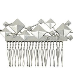 Punk Stud Cluster Comb in Antique Silver, $165