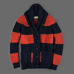 """Scott & Charters lambswool shawl collar cardigan, originally $365, final sale price, <a href=""""http://www.millmercantile.com/Scott_&_Charters_Lambswool_Shawl_Collar_Cardigan_in_Navy_and_Ember_10986.html"""">$131</a>"""
