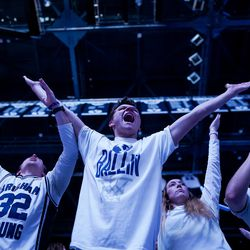 Brigham Young Cougars fans cheer during the game against the Gonzaga Bulldogs at the Marriott Center in Provo on Saturday, Feb. 22, 2020.