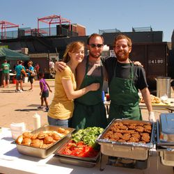 <em>The Garden Cafe crew catered to the vegetarians in the crowd.</em>