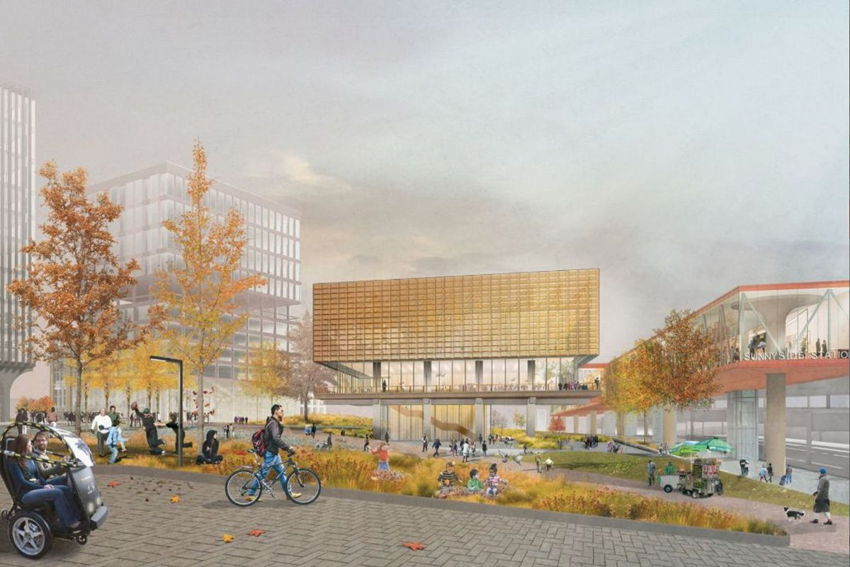 A rendering of the planned Sunnyside Station rail hub.