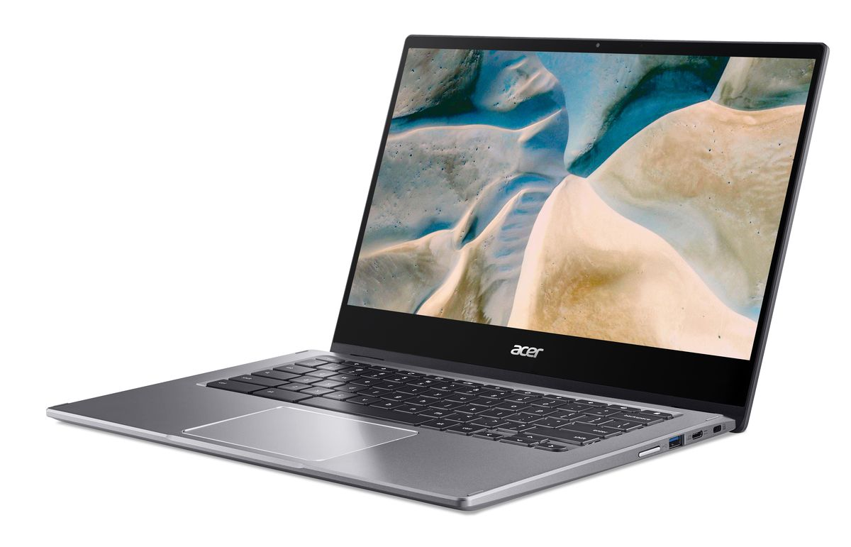 The Acer Chromebook Spin 514 at a slight angle from the right side.