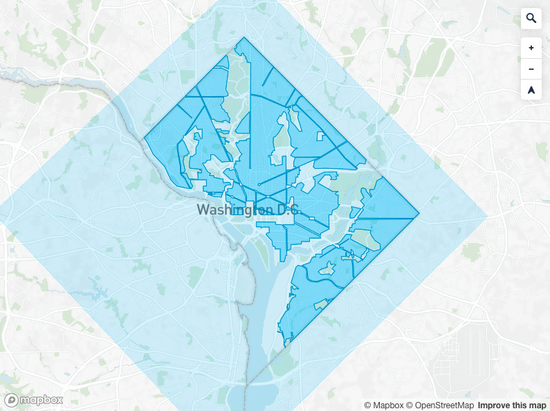 A map showing Revel's initial D.C. service area. The darker blue areas show where the company's mopeds may be picked up or dropped off while the lighter blue areas show where the mopeds may be ridden or paused.