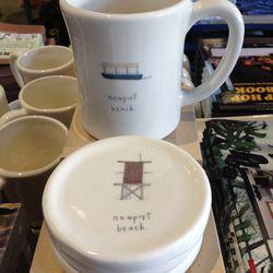 Beth Mueller Newport Beach handmade mugs, $34.95; Sets of four coasters, $54