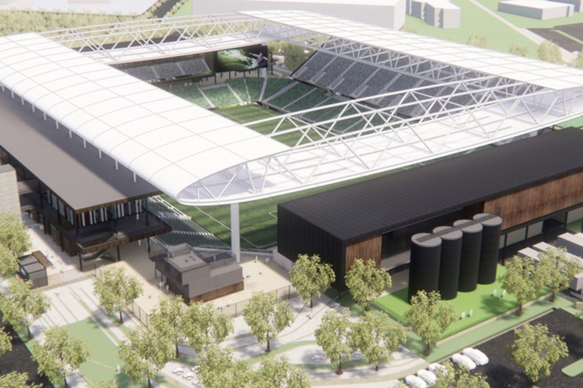 Overhead rendering of an open-roofed stadium