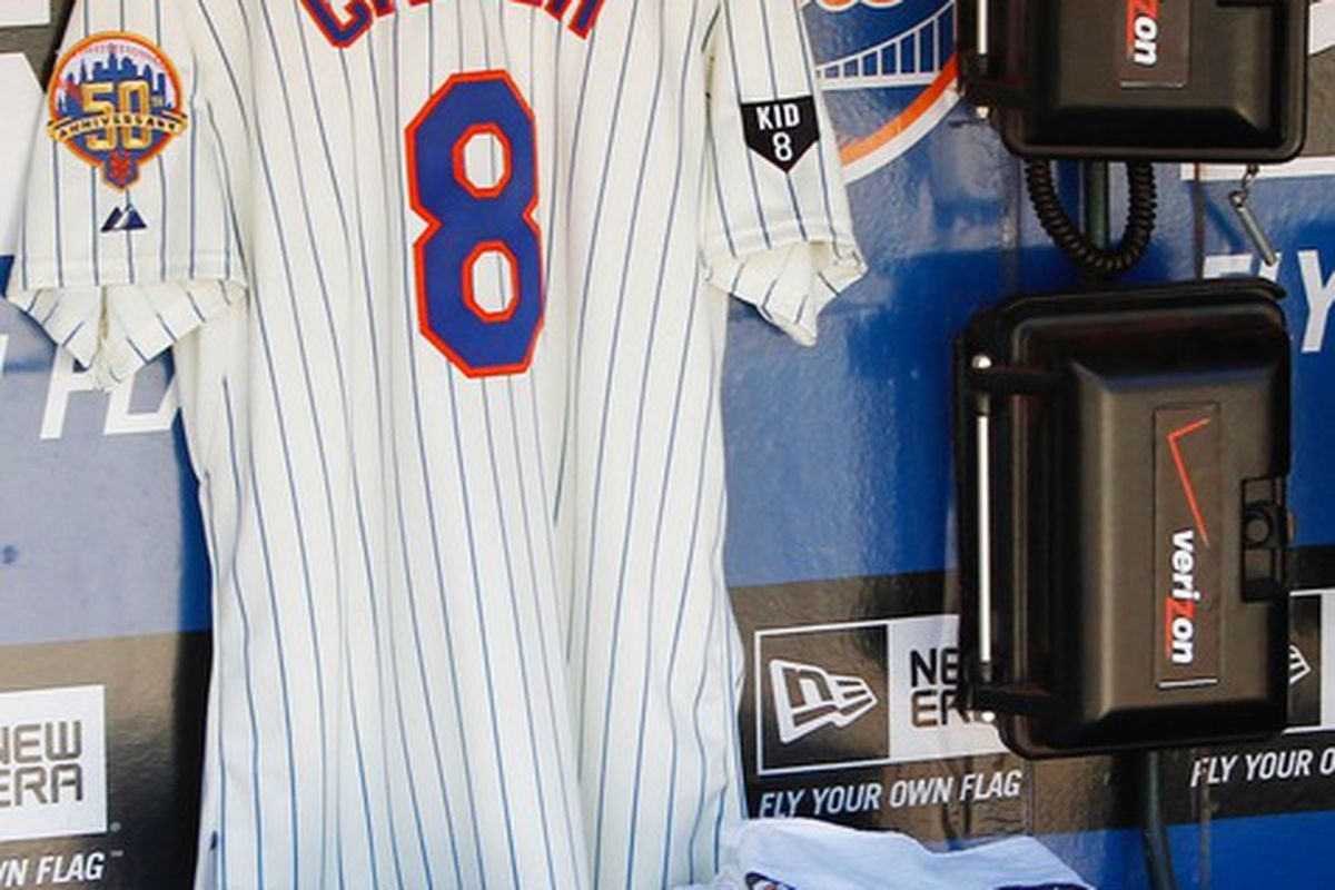 Apr. 5, 2012; Flushing, NY, USA; The jersey for New York Mets former player Gary Carter is seen in the dugout before the game against the Atlanta Braves at Citi Field. Mets win 1-0. Mandatory Credit: Debby Wong-US PRESSWIRE