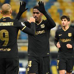 Braithwaite celebrates his first goal of the season