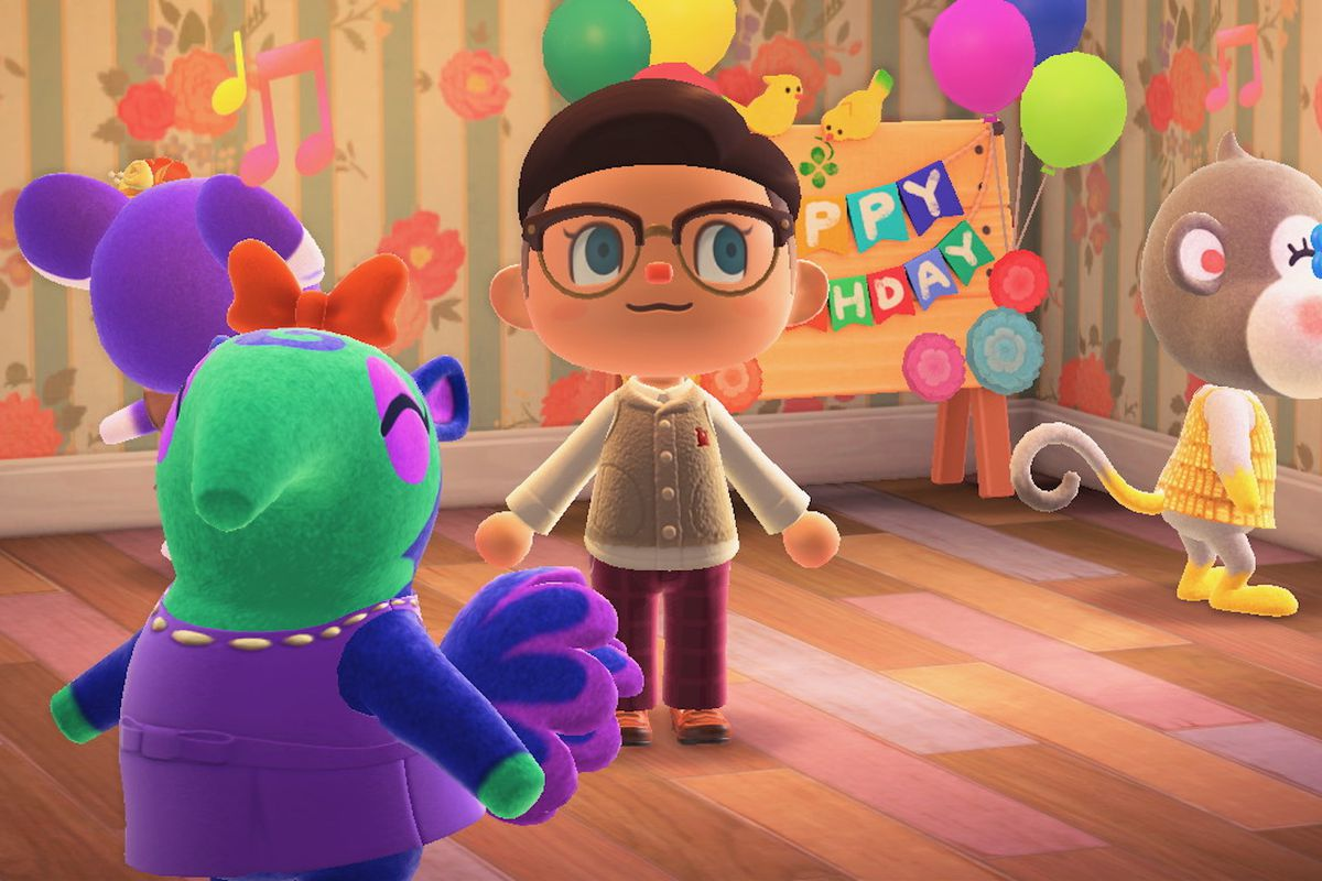 A group of villagers celebrate an Animal Crossing birthday.