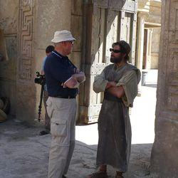 Technical adviser Dr. S. Kent Brown, left, compares historical views of Joseph with the actor who portrays him, Alex Greenfield, in the LDS Church's Bible Videos series.
