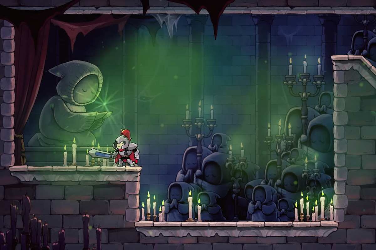 A knight from Rogue Legacy 2 standing in a creepy room