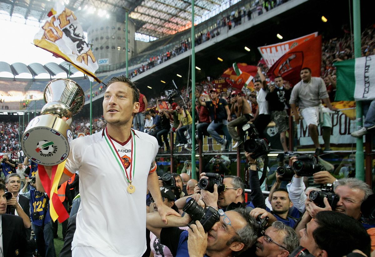 AS Roma Captain Francesco Totti celebrat...