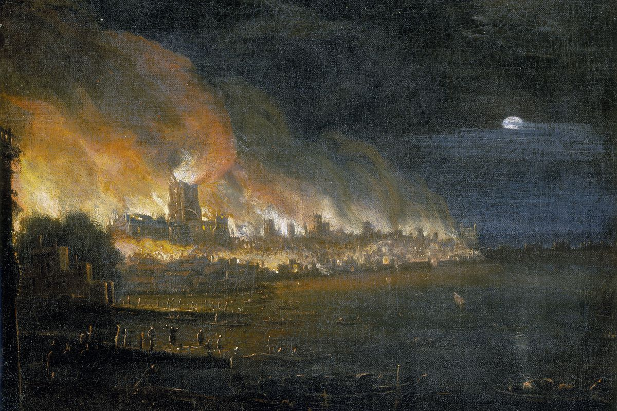 'The Great Fire of London, 1666', (c1666).