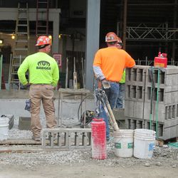 A stack of concrete blocks ready to be used on the Waveland side -