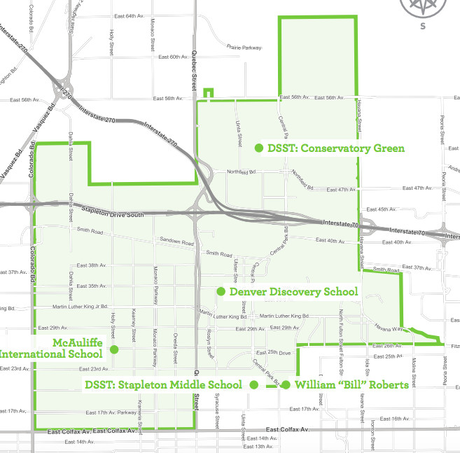 This map shows the Greater Park Hill/Stapleton enrollment zone.