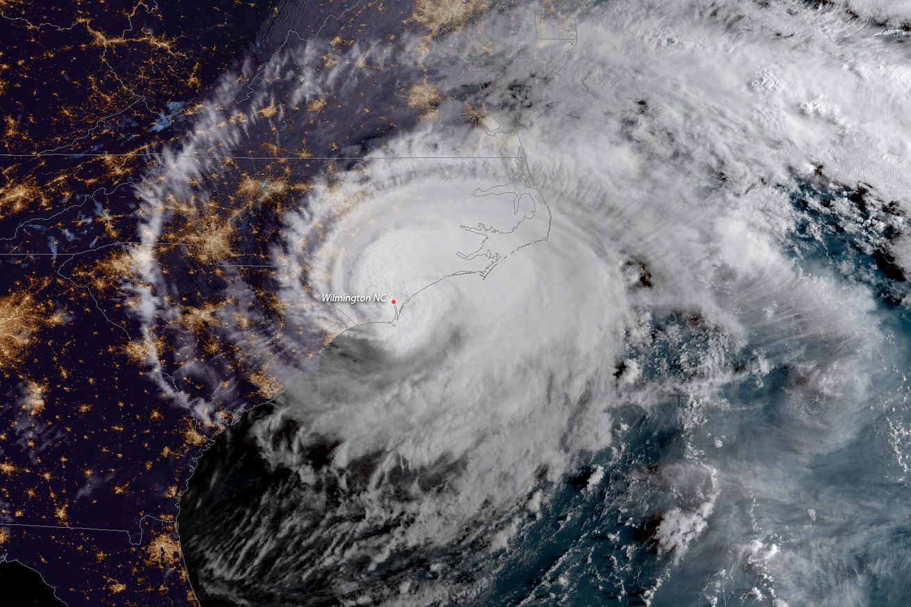 Hurricane Florence when it made landfall on Friday September 14th, 2018.