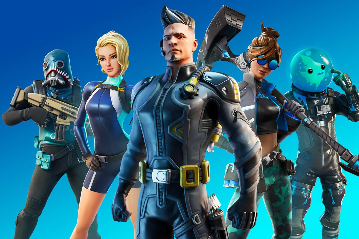 Five characters from Fortnite on a blue background