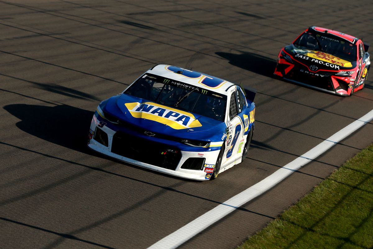 Chase Elliott, driver of the #9 NAPA AUTO PARTS Chevrolet, leads Martin Truex Jr, driver of the #19 Bass Pro Shops Toyota, during the Monster Energy NASCAR Cup Series Go Bowling at The Glen at Watkins Glen International on August 04, 2019 in Watkins Glen, New York.
