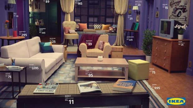 Catalog page with replica of Friends living room