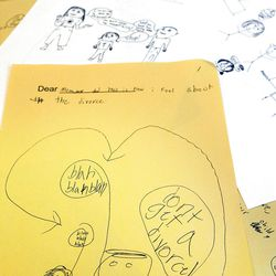 Children in divorce education classes express their feelings about divorce in unsent letters and drawings to their parents. Some classes are sponsored by state court systems.