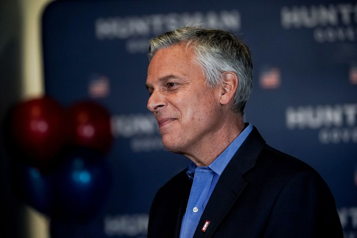 Republican gubernatorial candidate Jon Huntsman Jr. gives an interview at his campaign office in Salt Lake City after initial results show him trailing Lt. Gov. Spencer Cox by less than 1% on the night of the primary election, Tuesday, June 30, 2020.