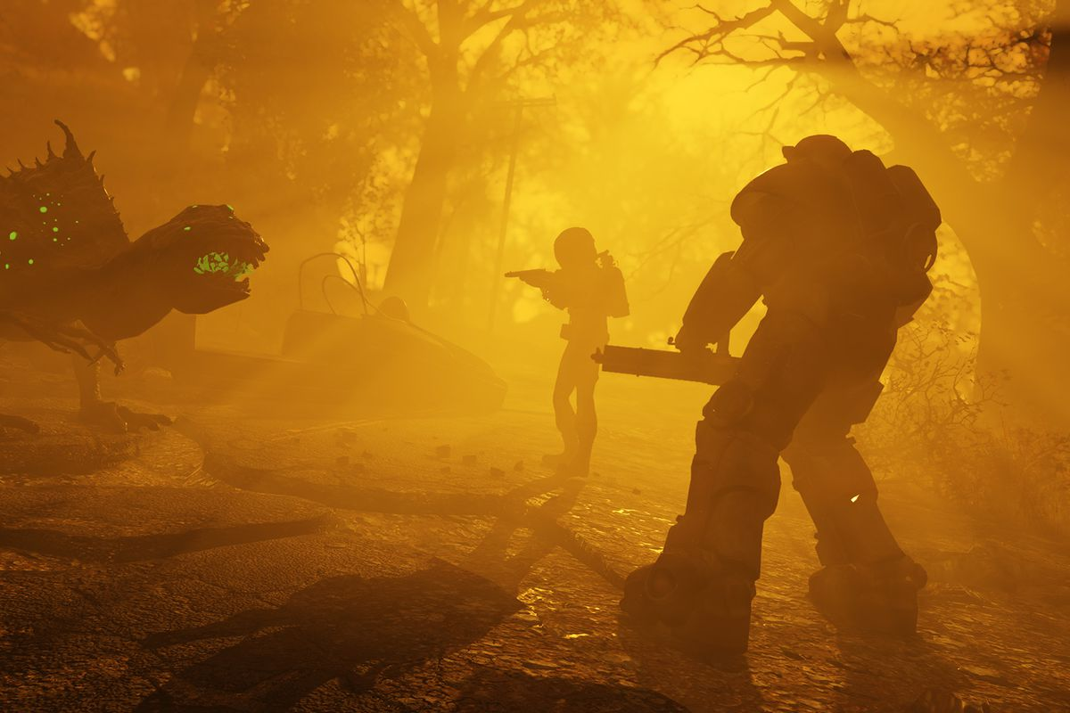 Players face a monster in an orange haze in a screenshot from Fallout 76