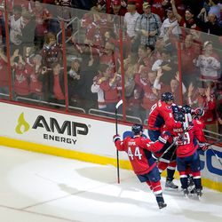 Ovechkin Jumping on the Ward Celebration