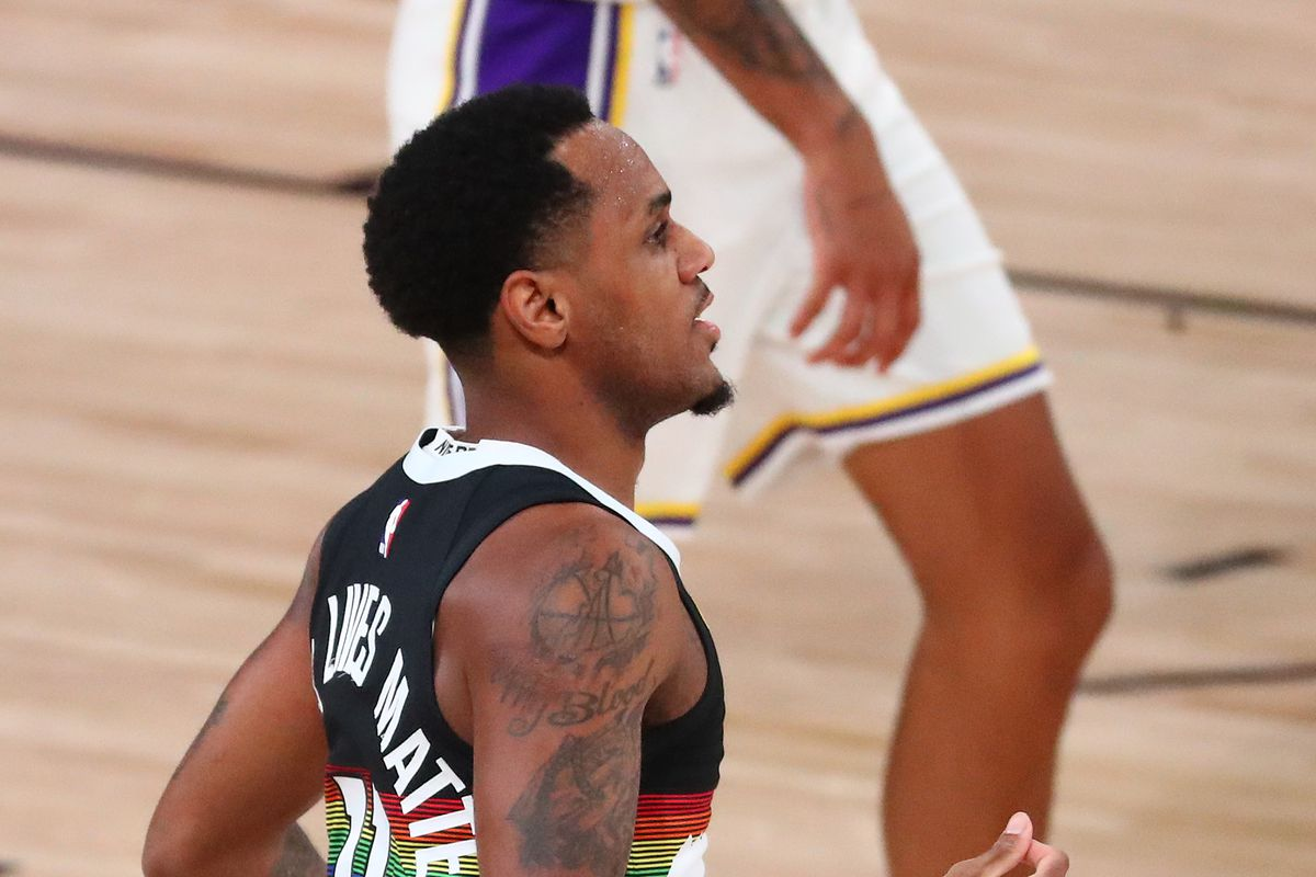 Denver Nuggets guard Monte Morris celebrates after making a three point basket against the Los Angeles Lakers during the first half of game three of the Western Conference Finals of the 2020 NBA Playoffs at AdventHealth Arena.