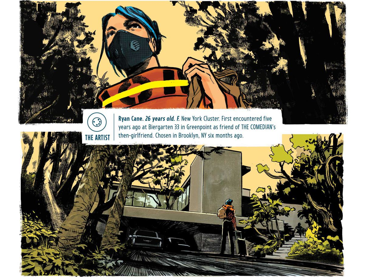 Ryan, wearing a mask, walks up the front drive of Walter's lake house, in The Nice House on the Lake #1, DC Comics (2021).