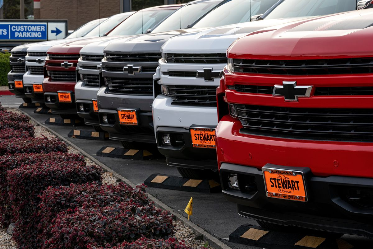 General Motors Vehicles At A Car Dealership Ahead Of Earnings Figures