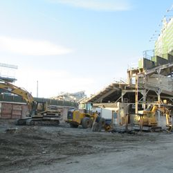 The right center field portion of the bleachers which has not yet been excavated