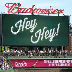 1:37 p.m. The right field video board, after Dexter Fowler's home run -