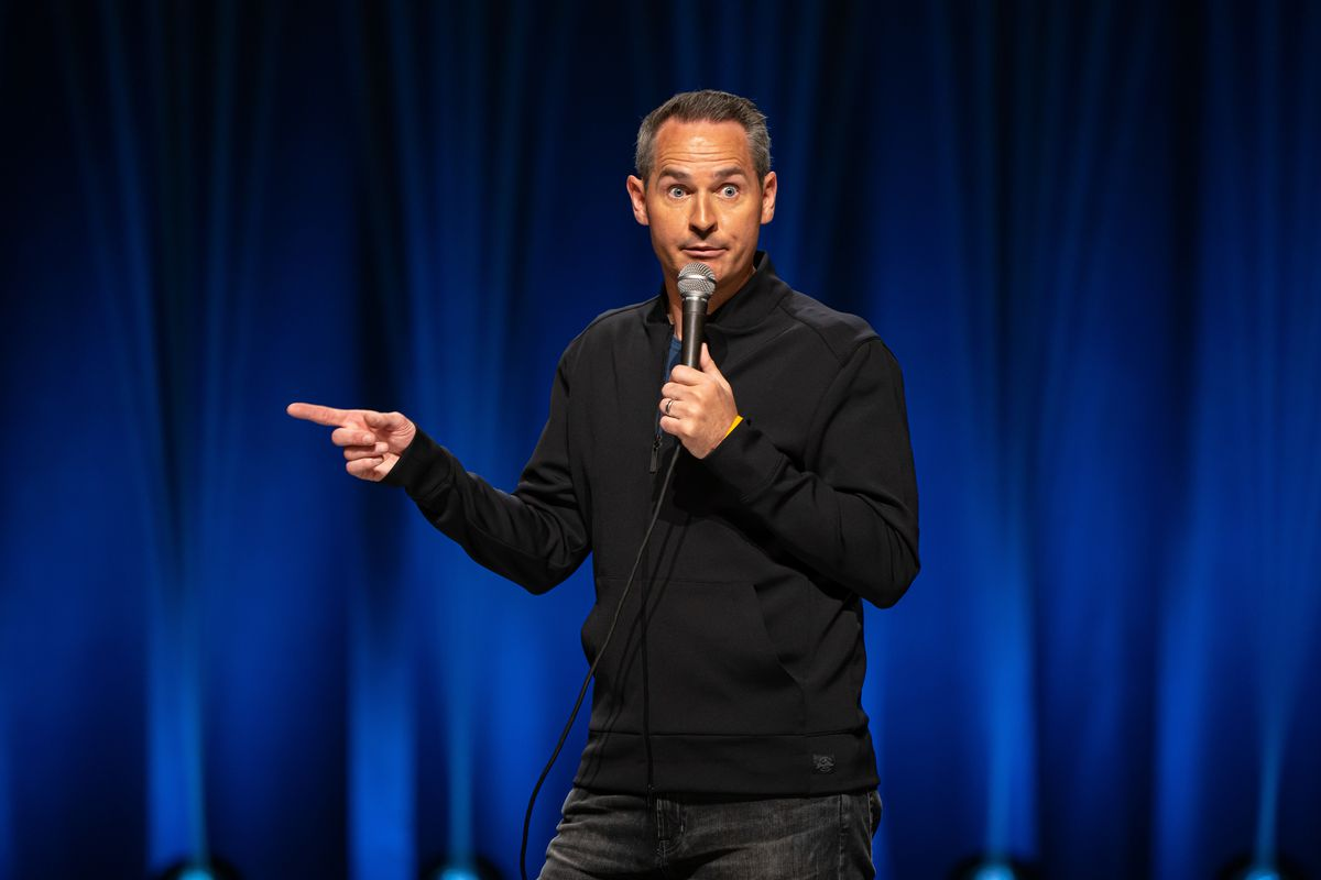 """Pat McGann is shown in his new comedy special """"Sebastian Maniscalco Presents Pat McGann: When's Mom Gonna Be Home?"""" taped at The Vic Theatre."""