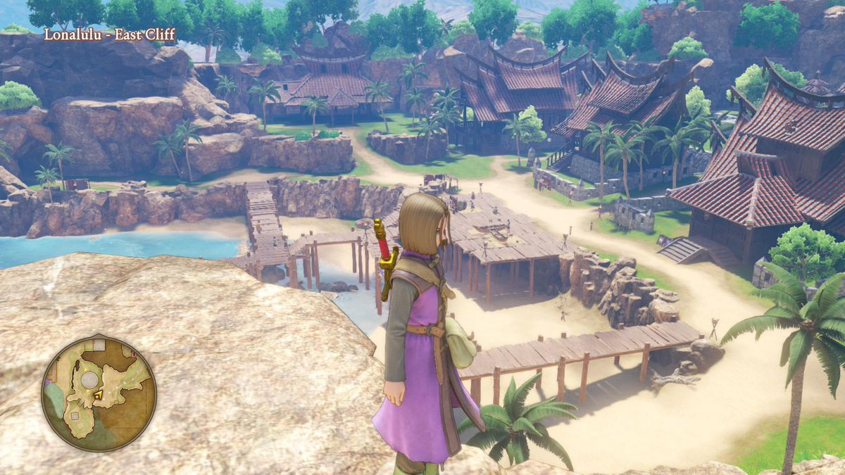 Dragon Quest 11 - walking on rocks overlooking a village