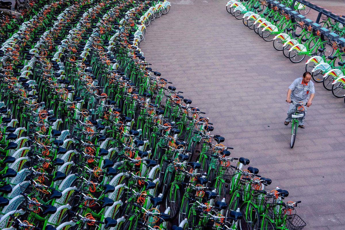 A Beijing bike share station.