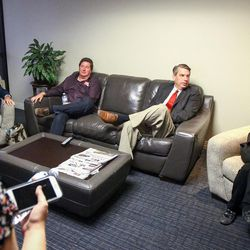 The format for an on-air debate hosted by KSL Newsradio is explained to Republican John Curtis, left, United Utah campaign manager Tim Fullmer, United Utah's Jim Bennett, second from right, and Democrat Dr. Kathie Allen, right, at KSL's offices in the Triad Center in Salt Lake City on Tuesday, Oct. 10, 2017.