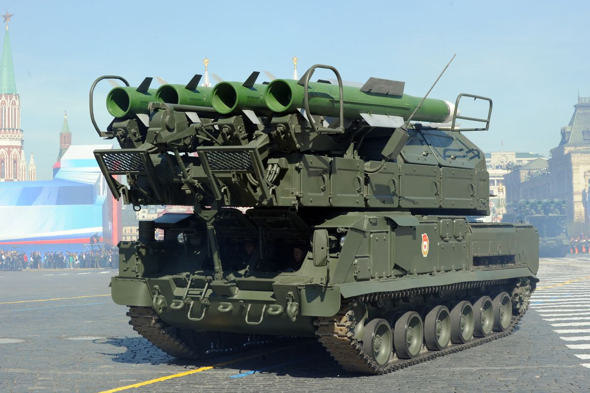A Buk surface-to-air missile system on parade in Moscow