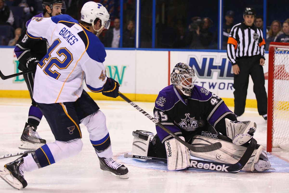 ST. LOUIS, MO - NOVEMBER 22: Jonathan Bernier #45 of the Los Angeles Kings makes a save against David Backes #42 of the St. Louis Blues at the Scottrade Center on November 22, 2011 in St. Louis, Missouri.  (Photo by Dilip Vishwanat/Getty Images)