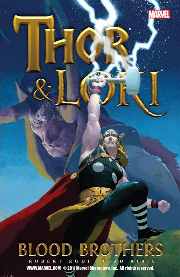Thor raises his hammer to catch a lightning strike, as a sinister Loki glowers in behind him on the cover of Thor & Loki: Blood Brothers, Marvel Comics (2011).