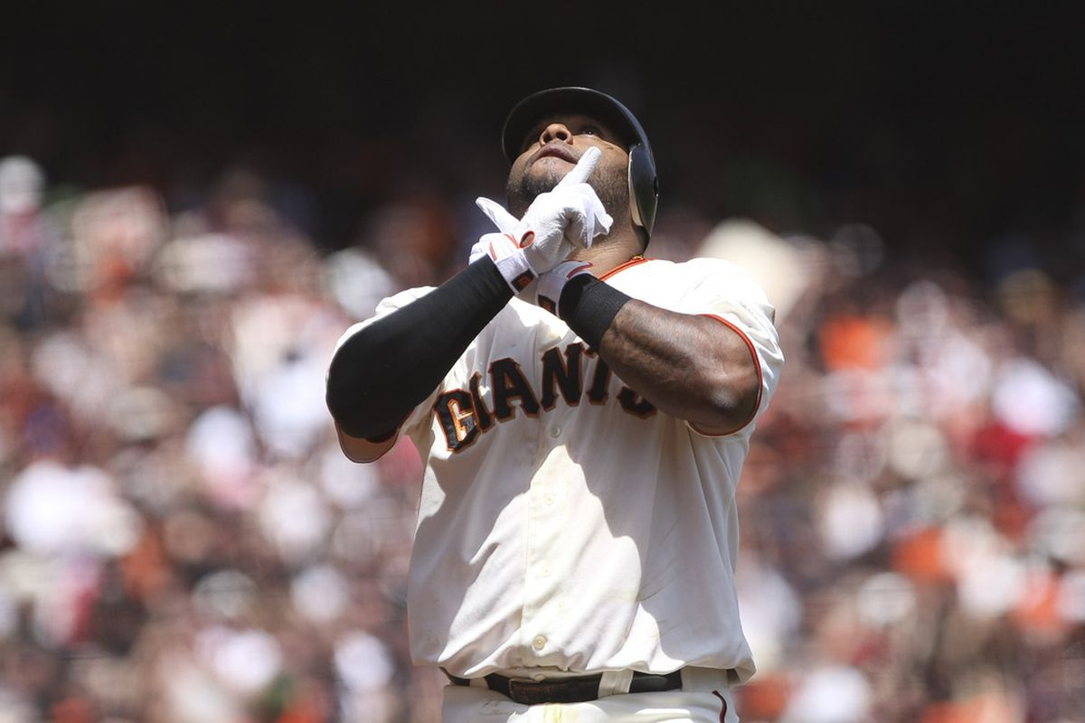 April 29, 2012; San Francisco, CA, USA; San Francisco Giants third baseman Pablo Sandoval (48) celebrates after hitting a solo home run against the San Diego Padres during the first inning at AT&T Park. Mandatory Credit: Kelley L Cox-US PRESSWIRE