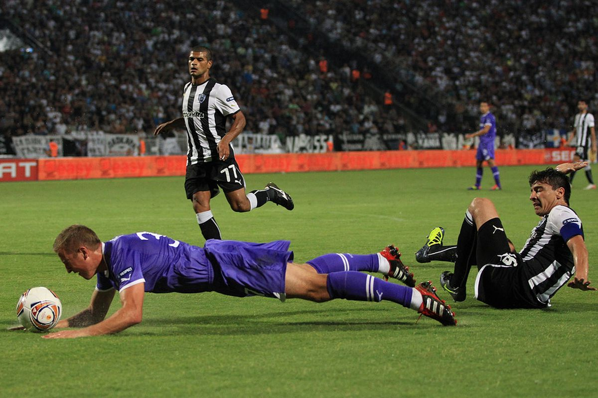 Not even a tackle from behind can stop the Hurricane from his attempt to score a diving header...or something.