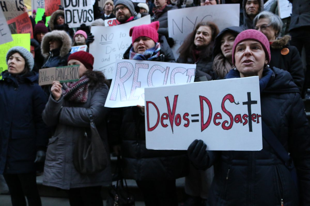 Hundreds of people rallied outside the New York City Department of Education.