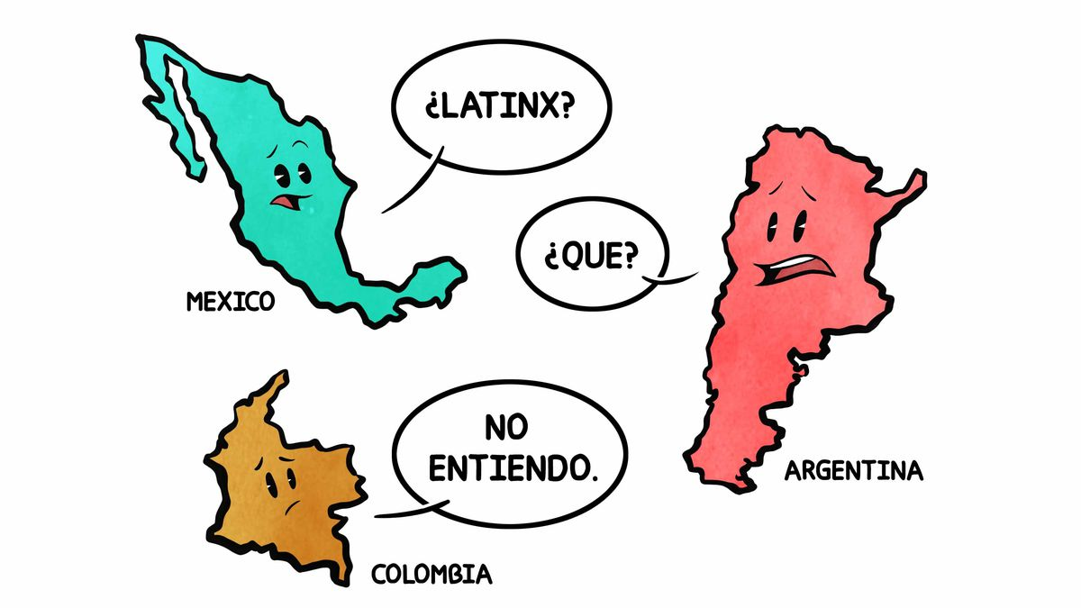 """Cartoon of the outline of Mexico saying """"Latinx?"""" and Argentina saying """"Que?"""" and Colombia saying """"No entiendo."""""""