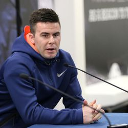 BYU quarterback Tanner Mangum talks about Bronco Mendenhall's announcement that he will leave BYU to take over for Mike London at Virginia after 11 years as BYU's head coach during a press conference at BYU in Provo on Friday, Dec. 4, 2015.
