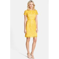 """<b>Adrianna Papell</b> Scalloped Lace Dress in Daffodil, <a href=""""http://shop.nordstrom.com/s/adrianna-papell-scalloped-lace-dress-regular-petite/3715745?origin=category"""">$138</a>"""