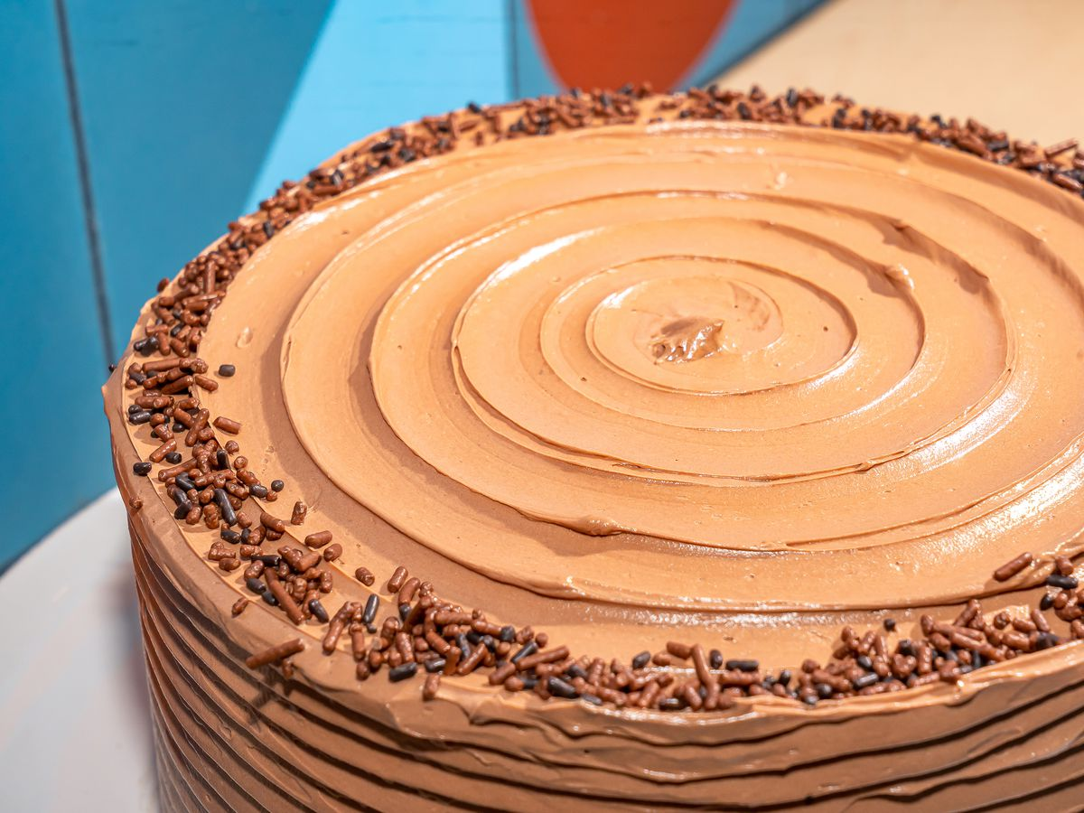 An overhead shot of a chocolate cake.