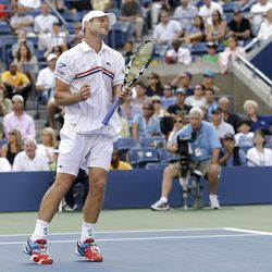 Andy Roddick reacts during his match with Argentina's Juan Martin Del Potro in the quarterfinals during the 2012 US Open tennis tournament,  Wednesday, Sept. 5, 2012, in New York. (AP Photo/Darron Cummings)
